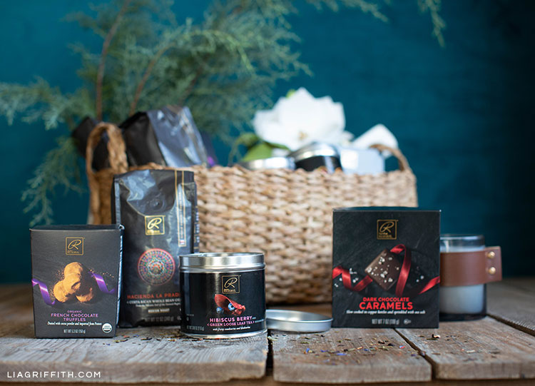 holiday gift basket with coffee, truffles, caramels, and loose-leaf tea