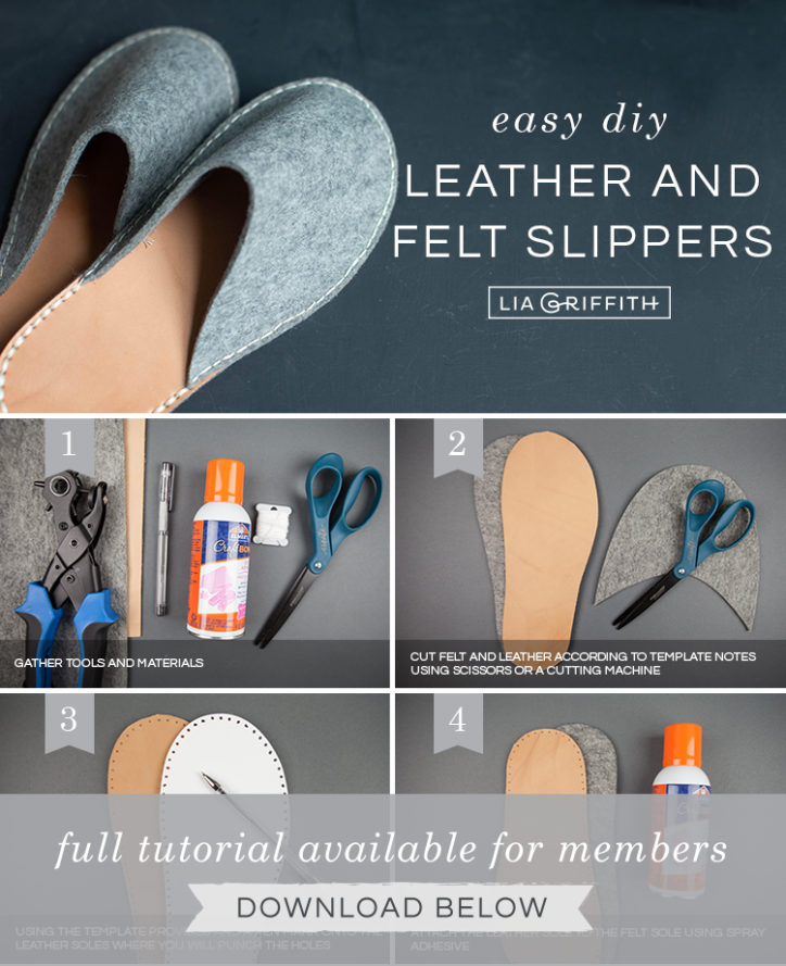 Photo tutorial for DIY felt and leather slippers by Lia Griffith