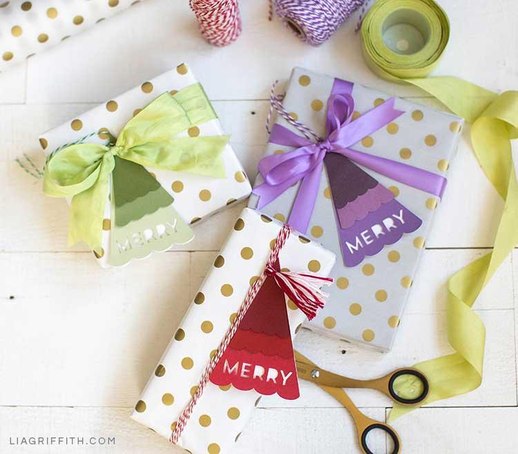 Christmas tree gift tags on polka-dot gift-wrapped presents