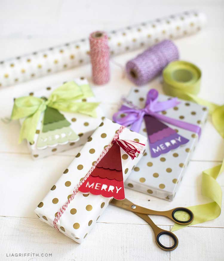 Holiday gifts with Christmas tree gift tags