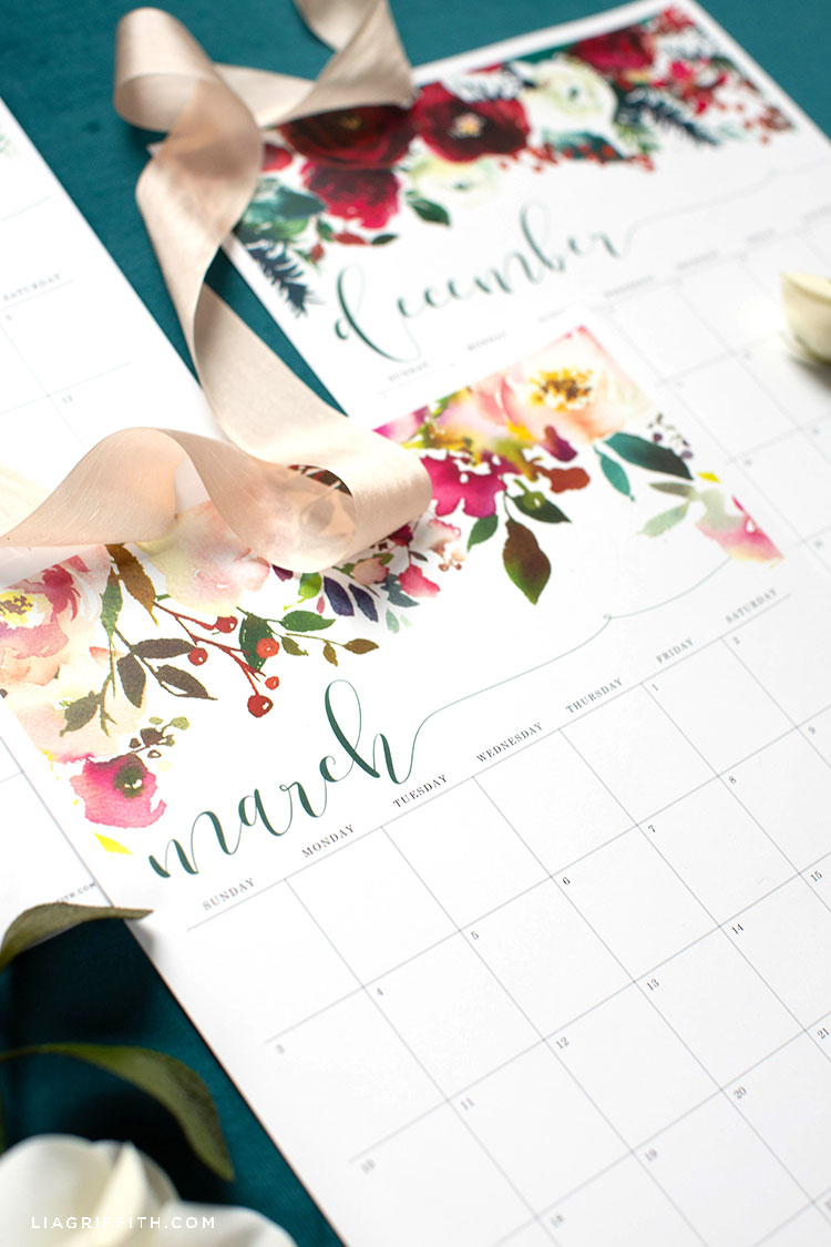 2019 printable calendar featuring March and December with floral designs