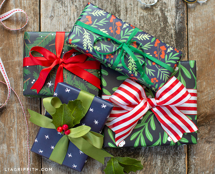DIY winter berries and evergreen gift wrap