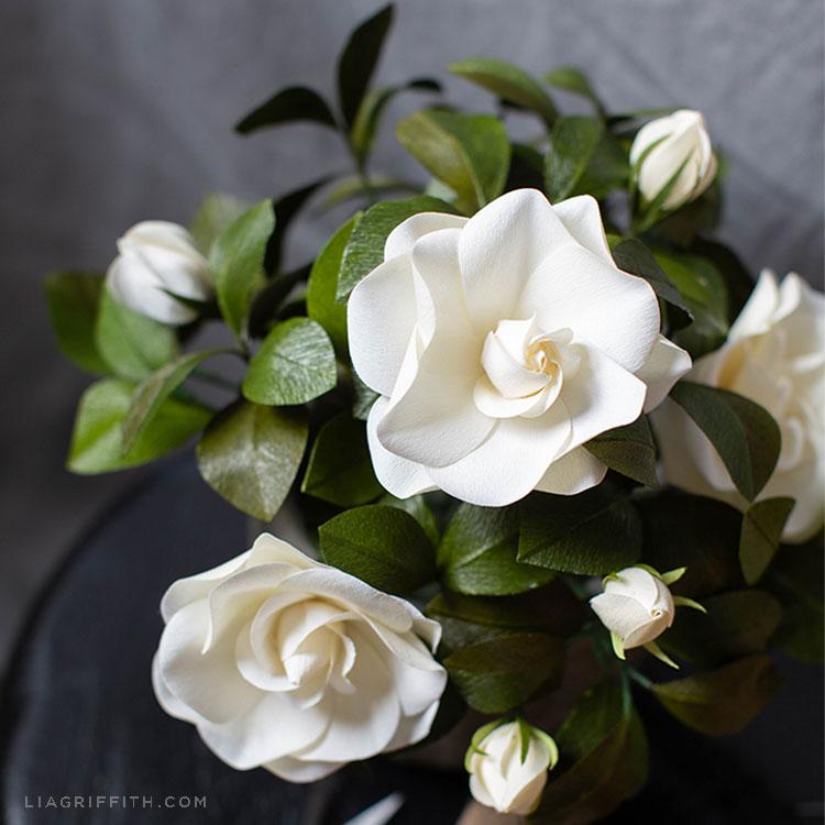 white crepe paper gardenia plant