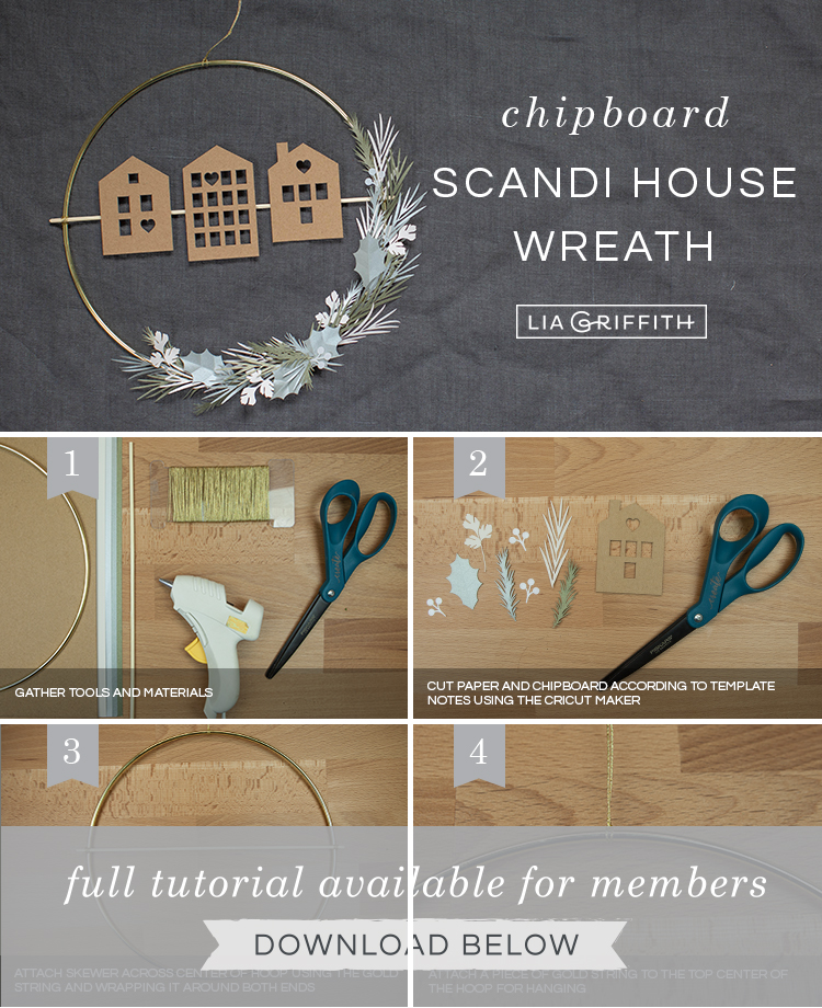 Photo tutorial for chipboard Scandi house and greenery wreath by Lia Griffith
