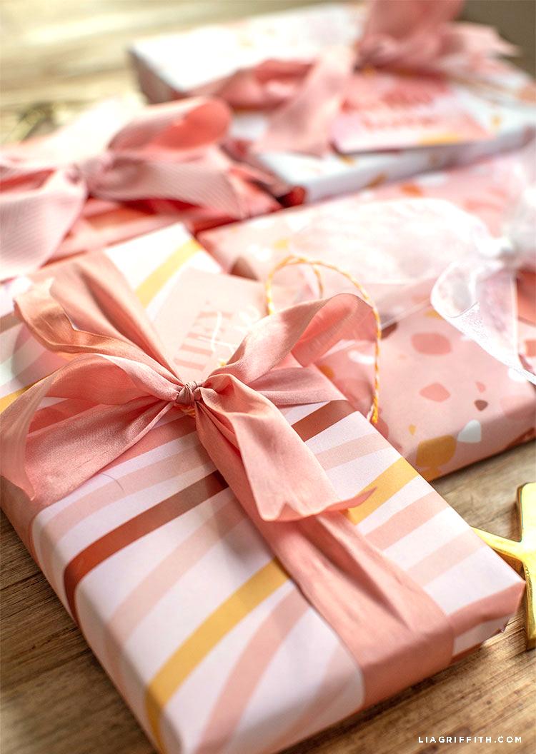 terrazzo Valentine's Day gift wrap