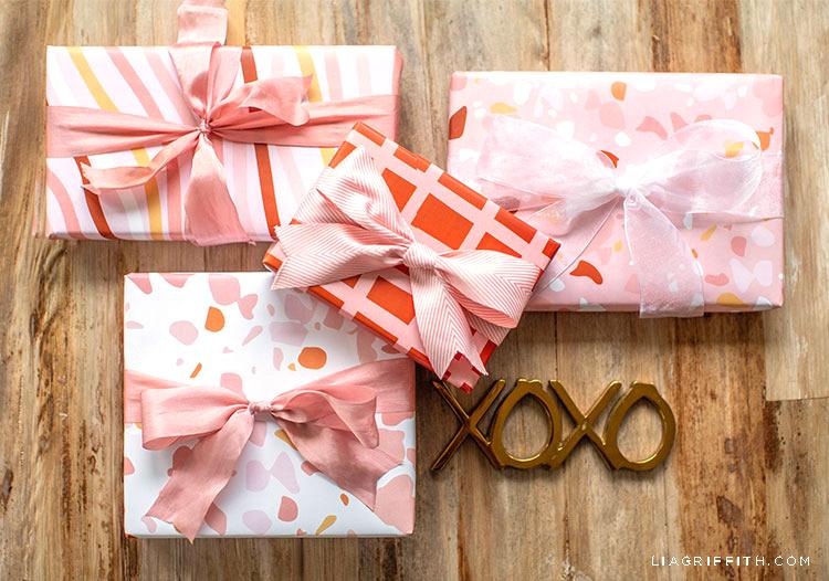 terrazzo Valentine's Day gift wrap with XOXO sign