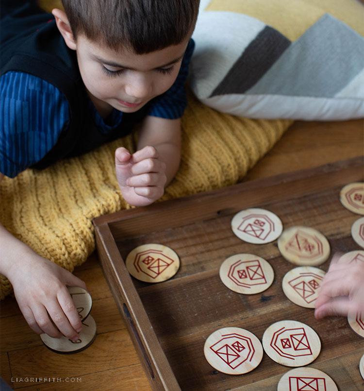Kids playing barnyard memory game