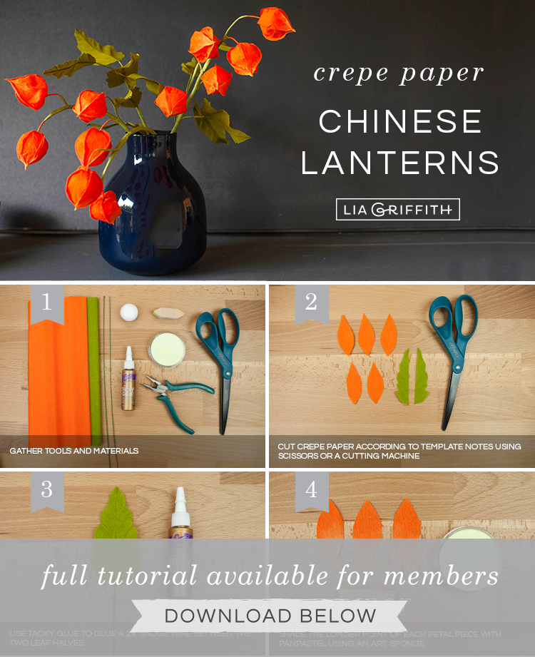 Photo tutorial for crepe paper Chinese lantern flowers by Lia Griffith