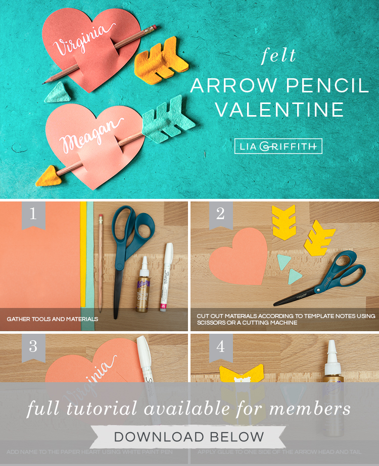 photo tutorial for paper heart and felt arrow valentines by Lia Griffith