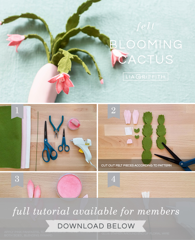 Photo tutorial for felt holiday cactus with pink flowers by Lia Griffith