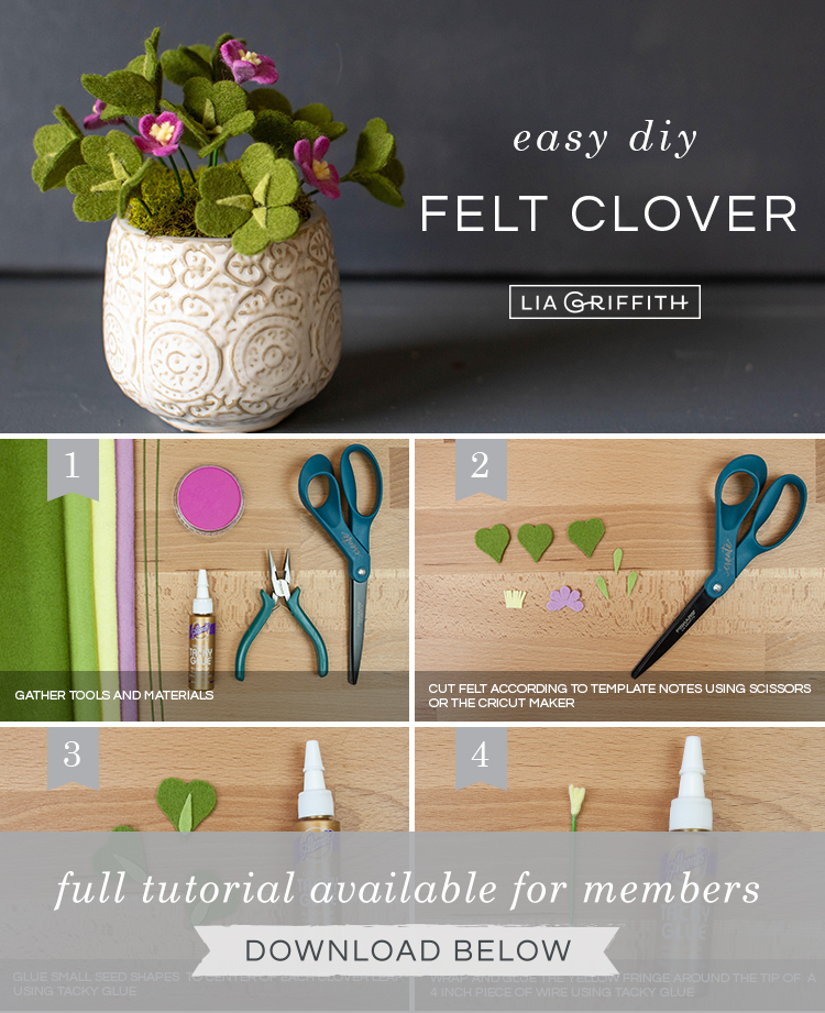 Photo tutorial for felt clover plant by Lia Griffith