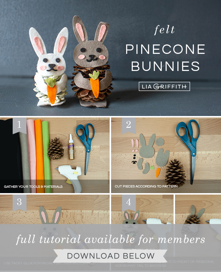 Photo tutorial for felt pinecone bunnies by Lia Griffith
