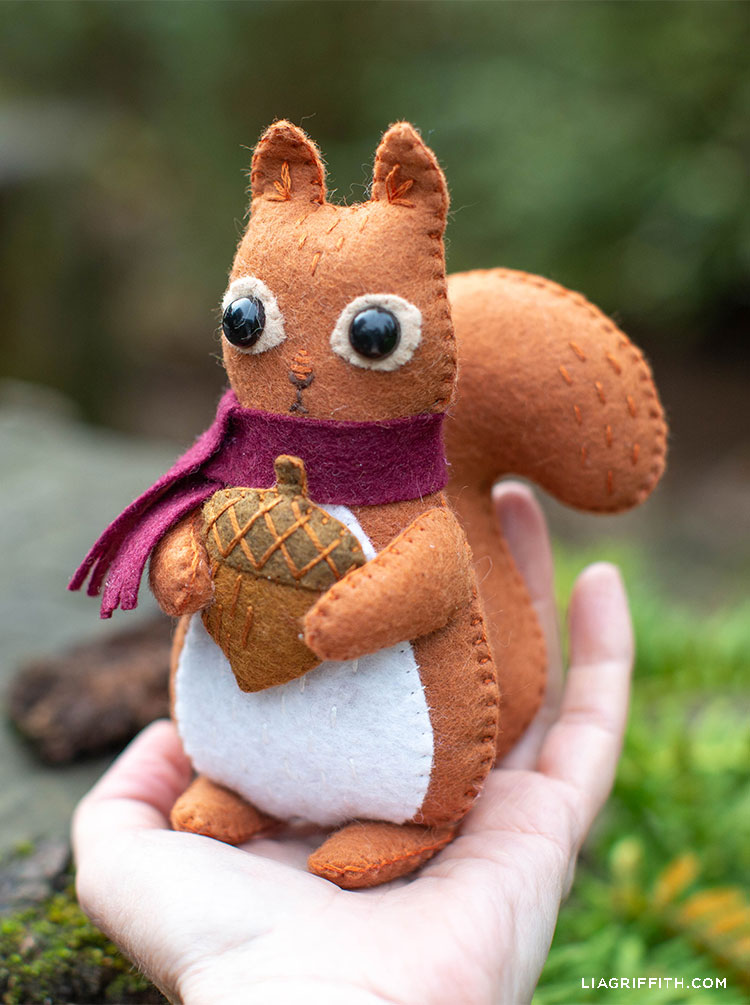 Person's hand holding felt squirrel stuffie outside