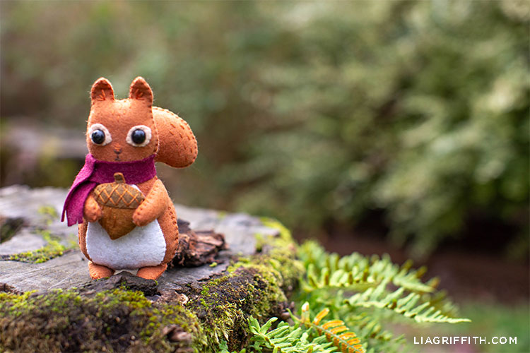 felt squirrel stuffie with acorn and scarf sitting on rock outside