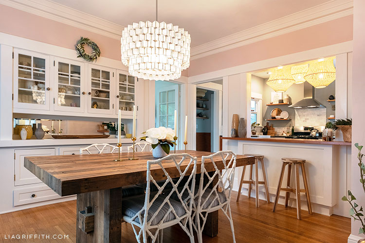 pink dining room with dining table