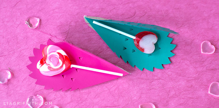 papercut hedgehog valentines with heart-shaped lollipops