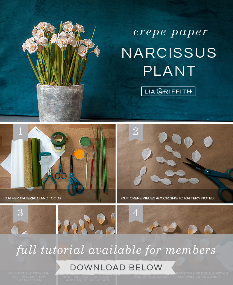 Photo tutorial for crepe paper double daffodils by Lia Griffith