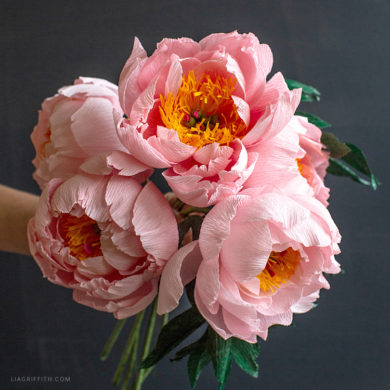 crepe paper coral supreme peony flowers