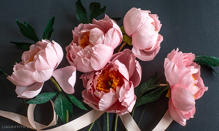 crepe paper coral supreme peony flowers with pink ribbon
