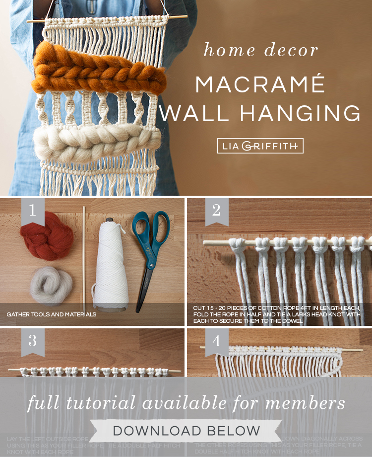 Photo tutorial for macramé and woven wool wall hanging by Lia Griffith