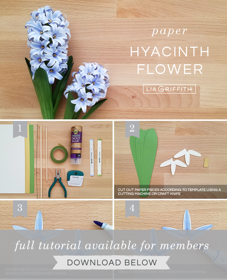 DIY photo tutorial for frosted paper hyacinth flowers by Lia Griffith