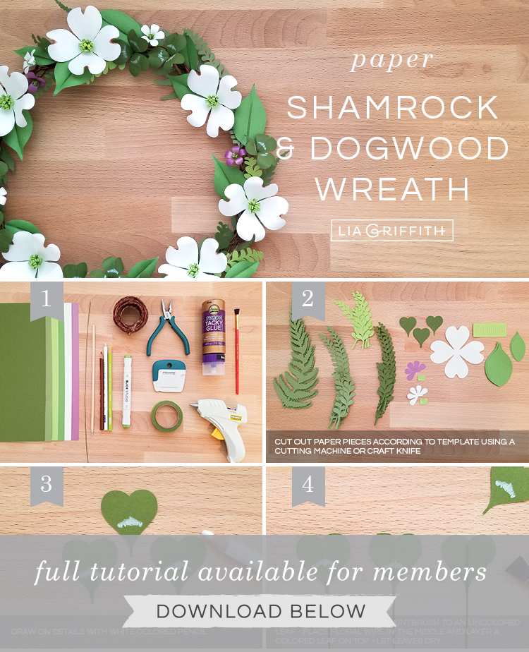 Photo tutorial for paper shamrock and dogwood wreath by Lia Griffith