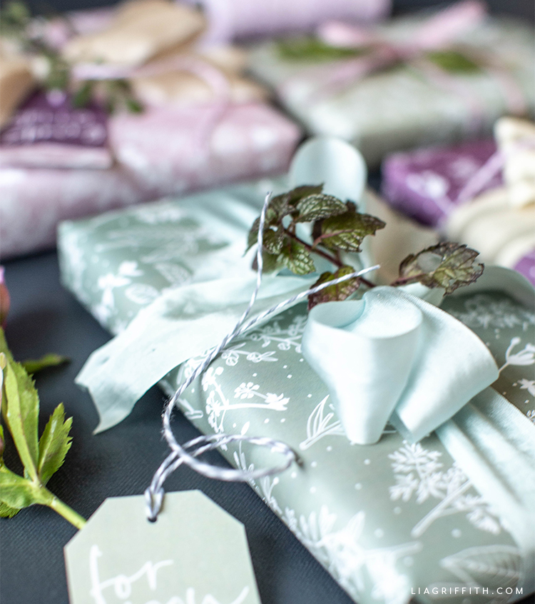 printable spring herb gift wrap