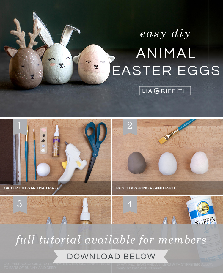 DIY photo tutorial for painted animal Easter eggs by Lia Griffith