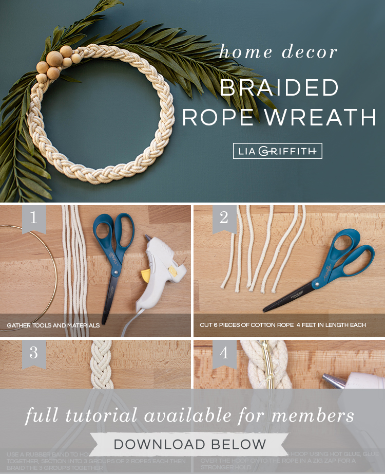 DIY photo tutorial for braided rope wreath by Lia Griffith