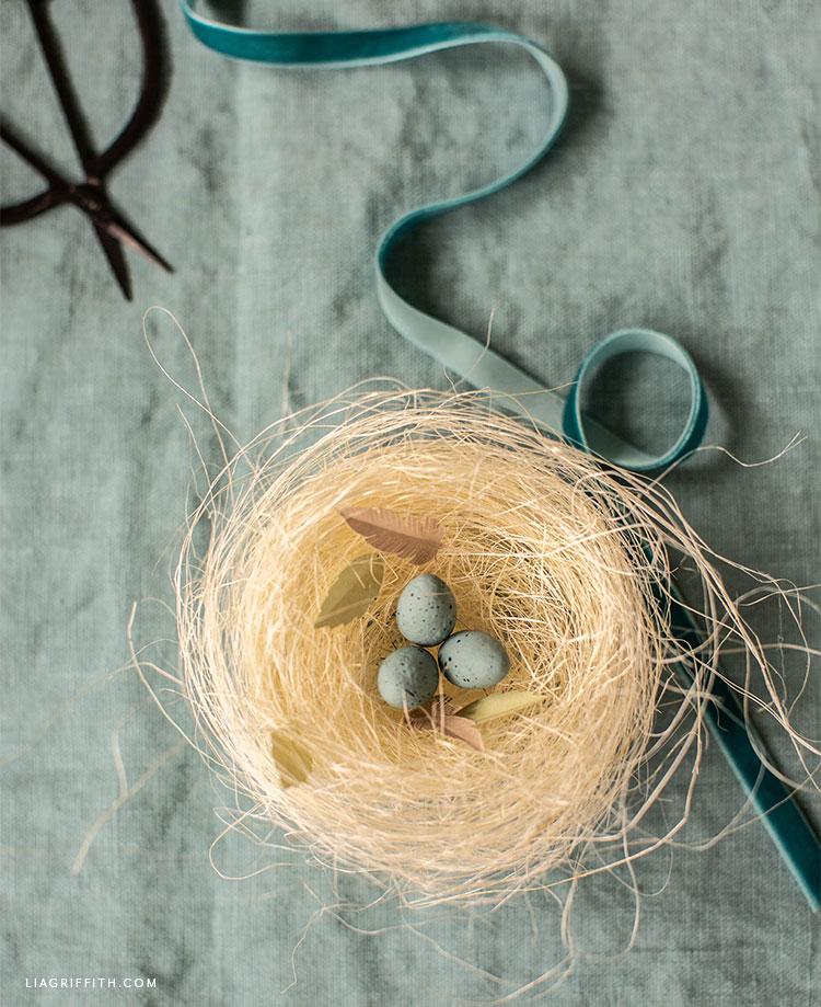 sisal nest with robins eggs