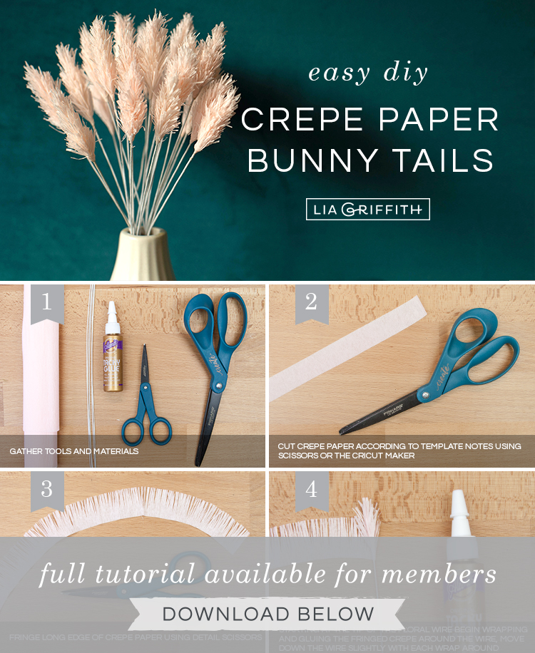 DIY photo tutorial for crepe paper bunny tails by Lia Griffith