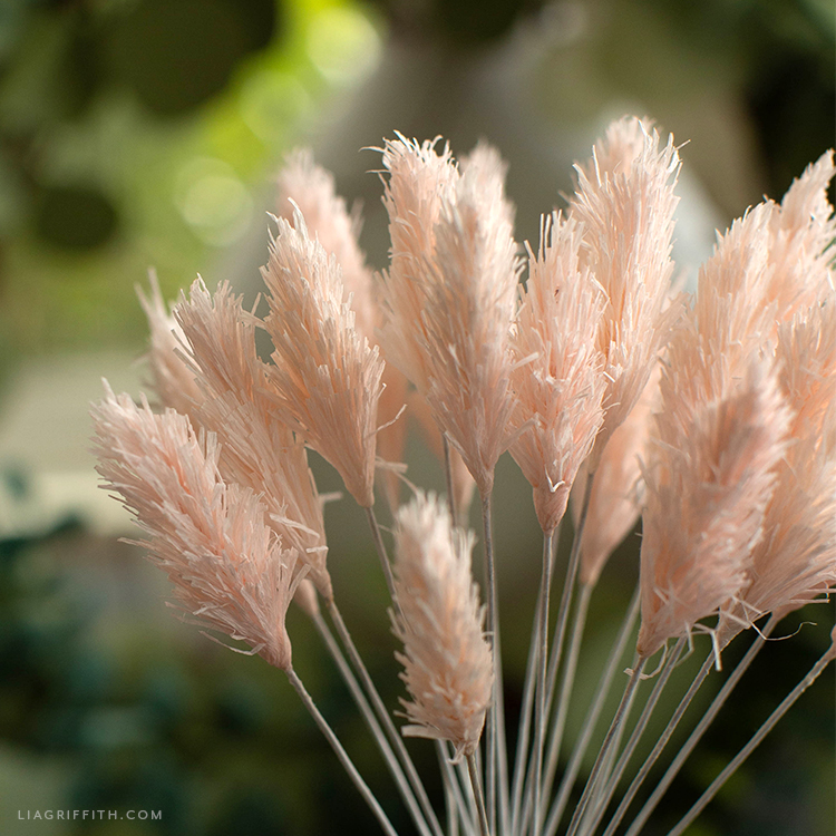 pink crepe paper bunny tails outside