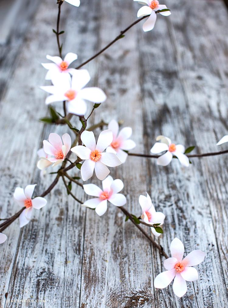 crepe paper tulip magnolia branch