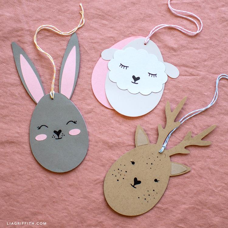 Easter egg animal gift tags