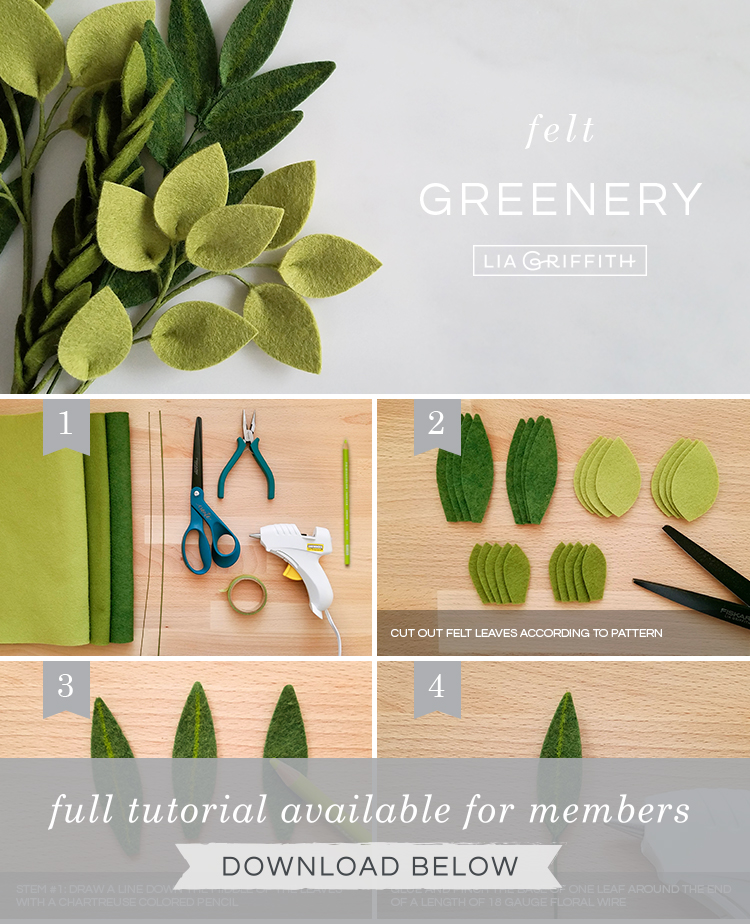 DIY photo tutorial for felt greenery stems by Lia Griffith