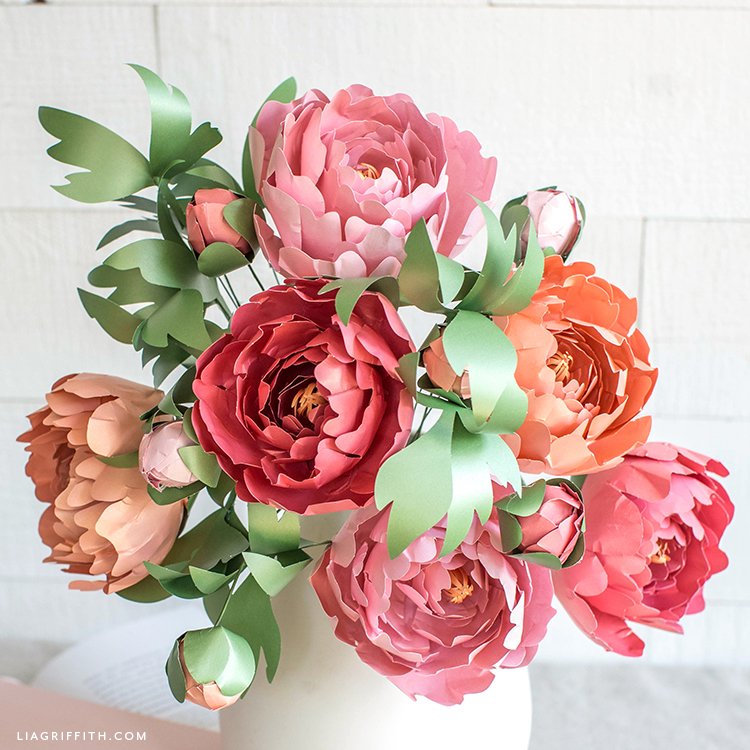 frosted paper peonies in white vase