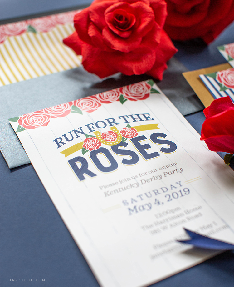 Kentucky Derby party invitations with roses