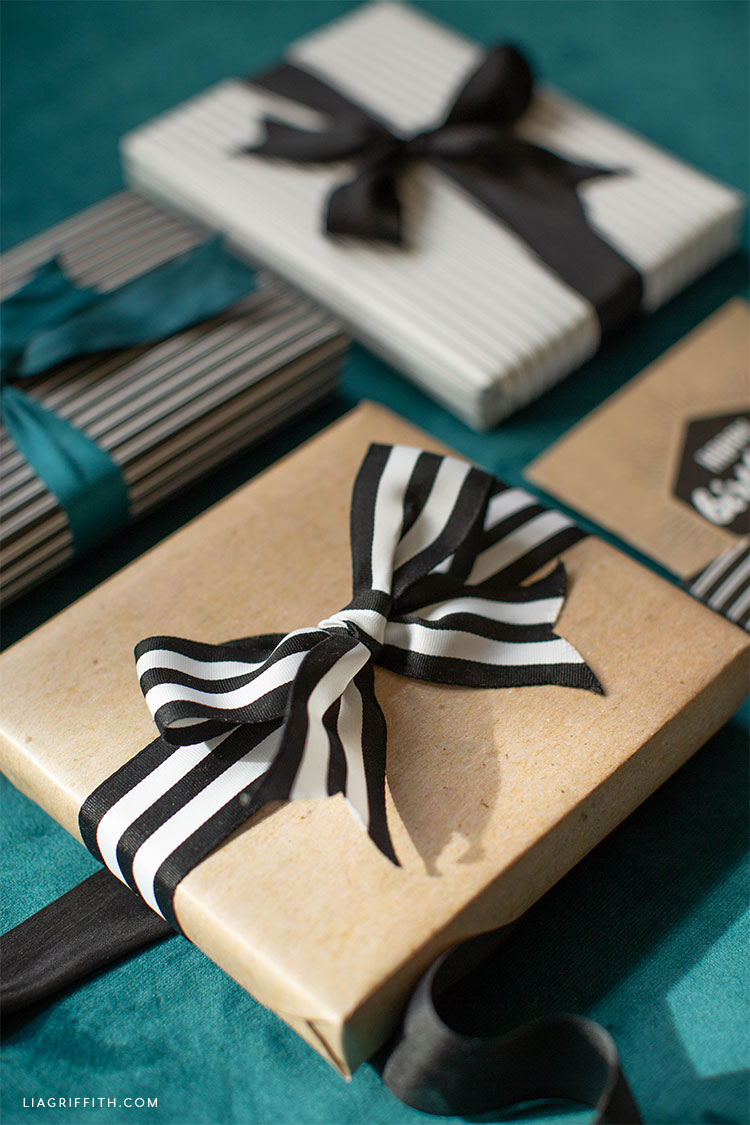 Kraft gift wrap and striped gift wrap with bows