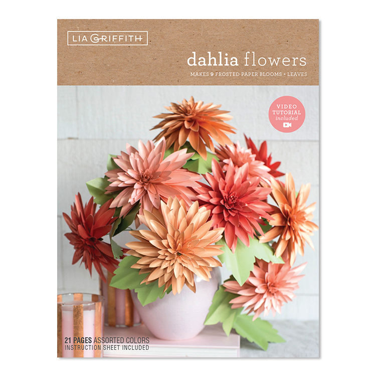 frosted paper dahlia flower kit by Lia Griffith