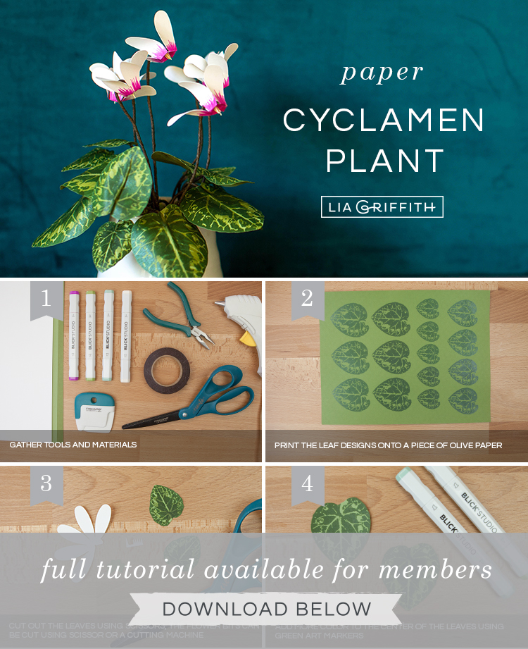 DIY photo tutorial for frosted paper cyclamen plant by Lia Griffith