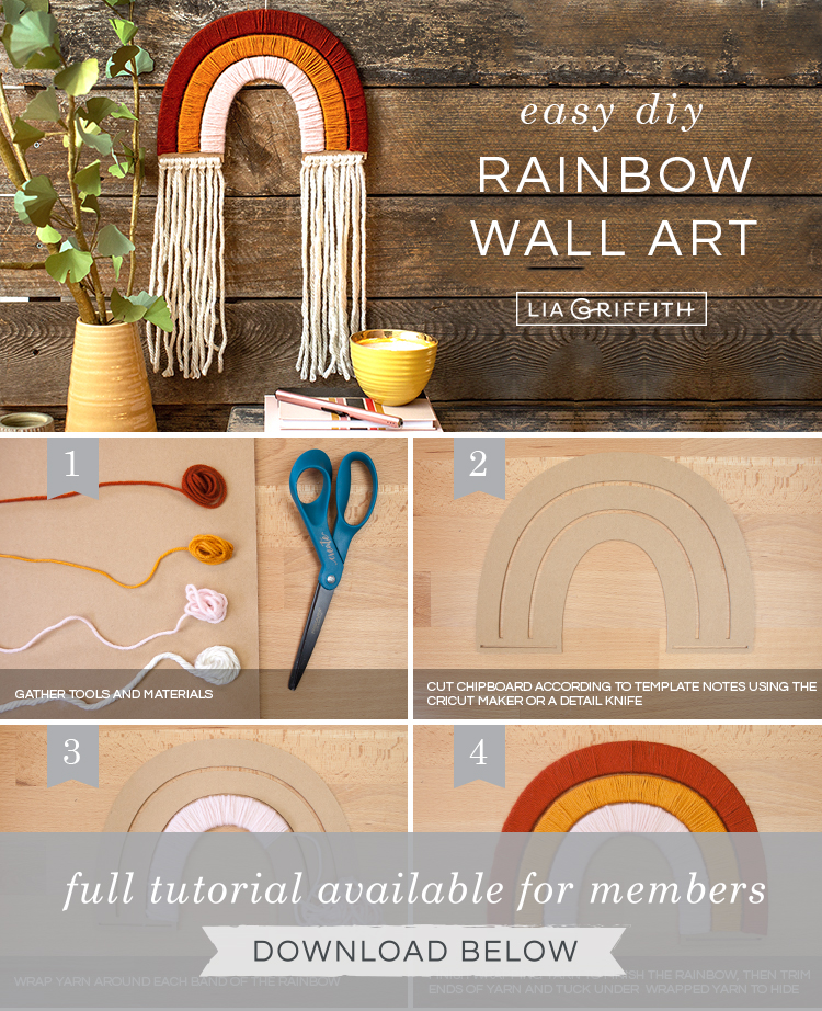 DIY photo tutorial for yarn-wrapped rainbow wall hanging by Lia Griffith