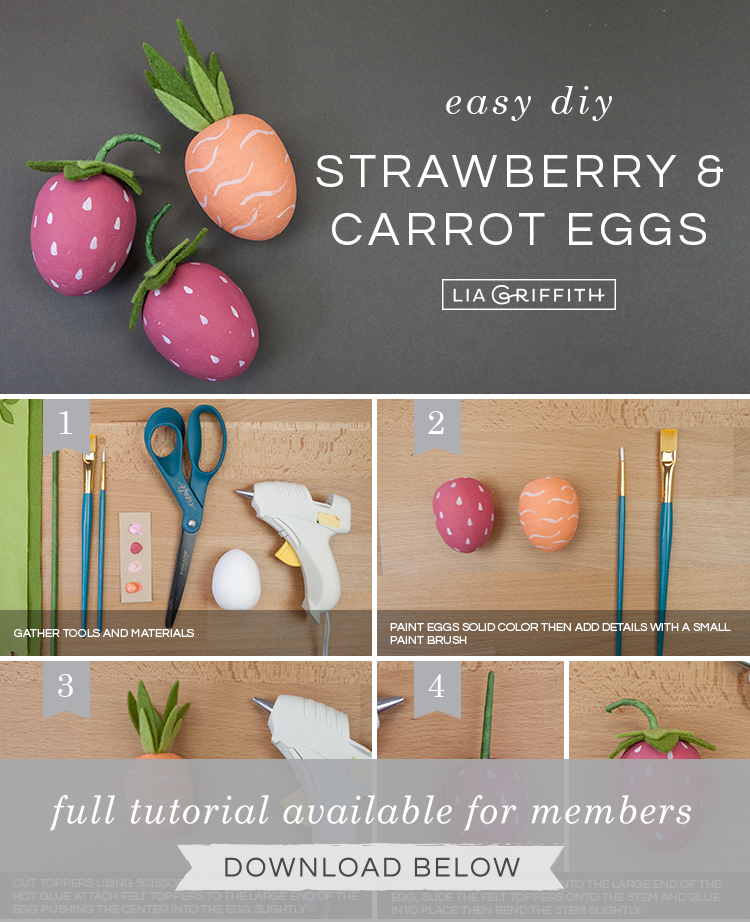 DIY photo tutorial for carrot and strawberry Easter eggs by Lia Griffith