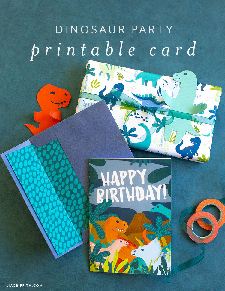 printable birthday card with dinosaurs