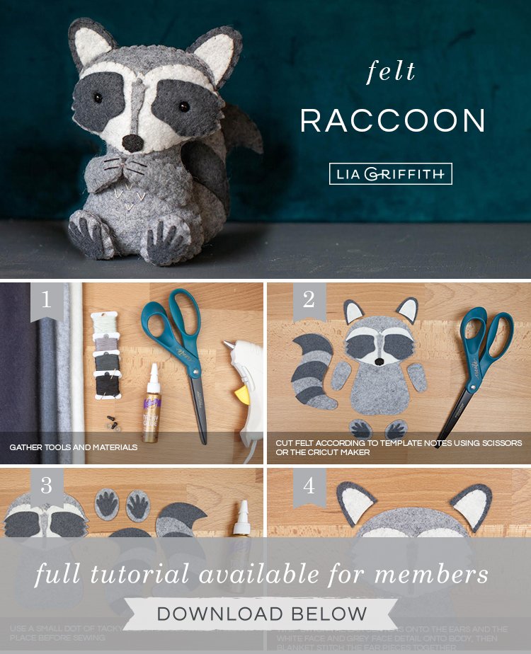 Step by step photo tutorial for felt raccoon stuffie by Lia Griffith