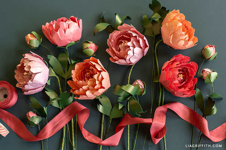 frosted paper peonies flower kit