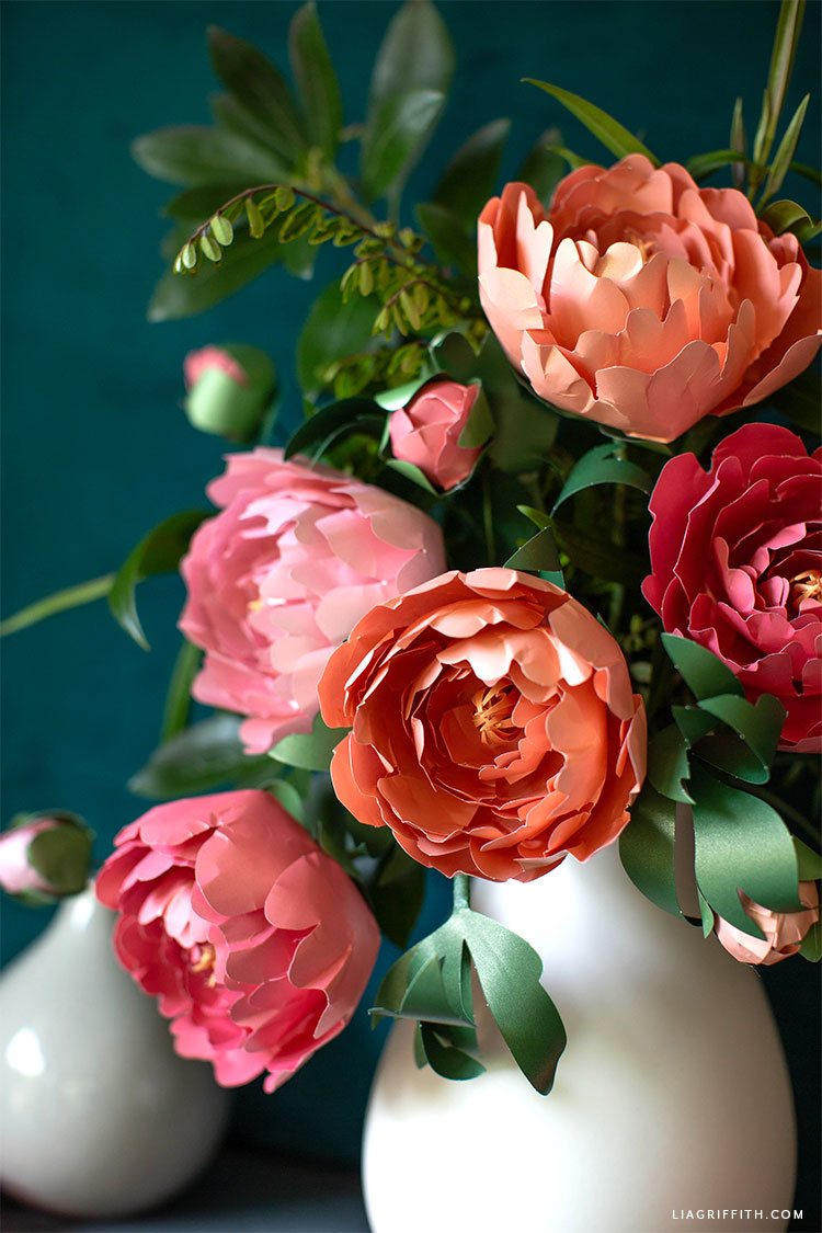 frosted paper peonies and leaves