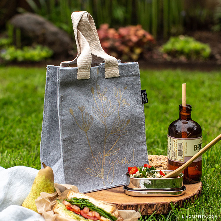DIY lunch bag outdoors with sandwich and drink