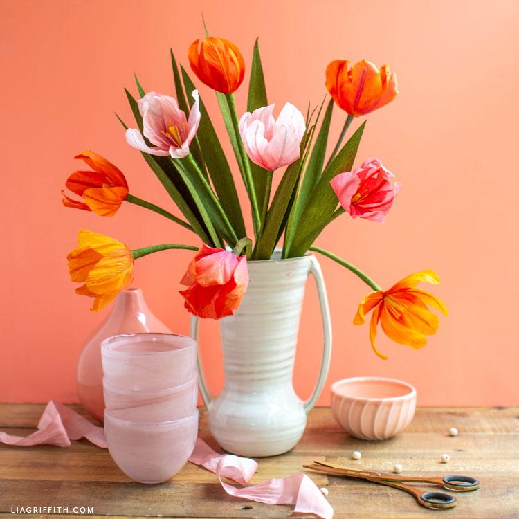 ombré crepe paper tulips in white vase