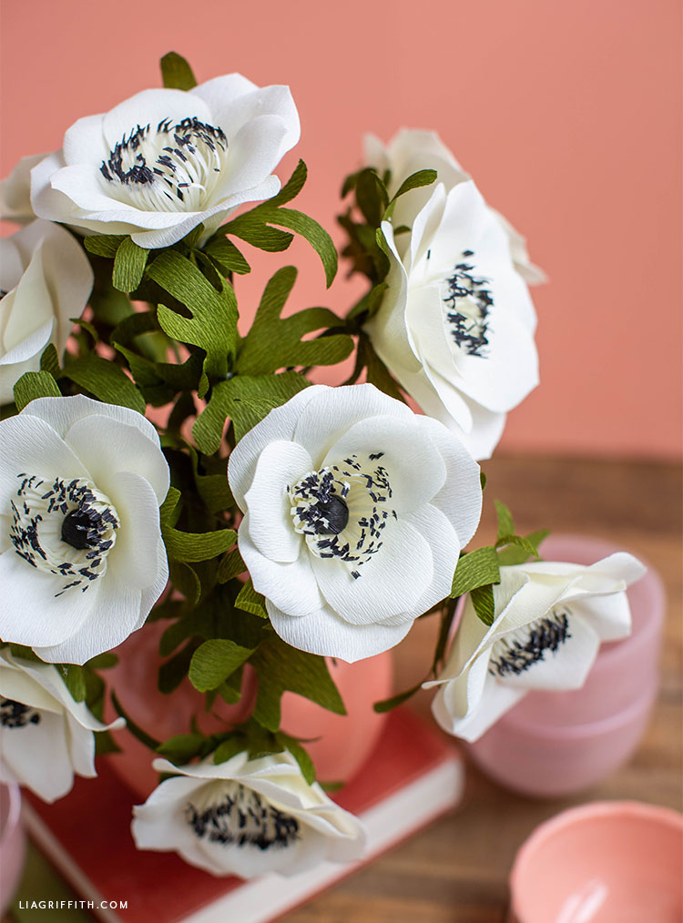 white and black crepe paper anemone flowers