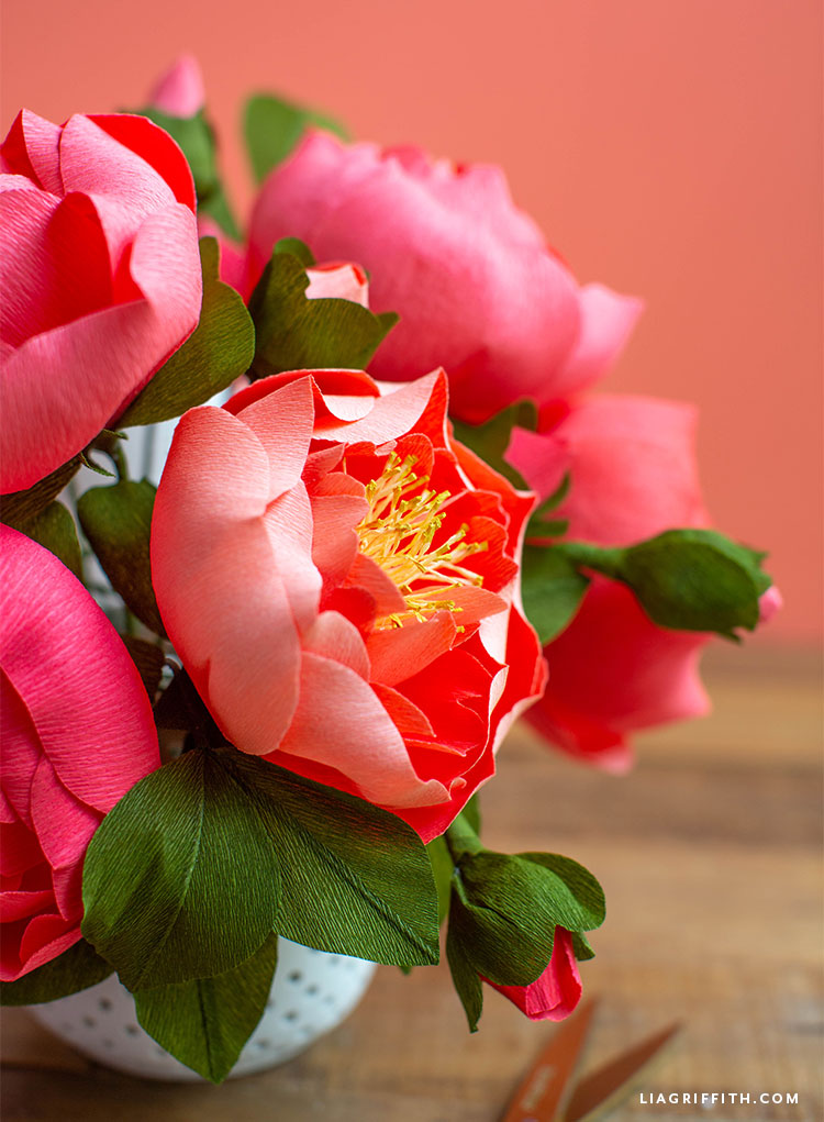 close-up for crepe paper peonies and buds